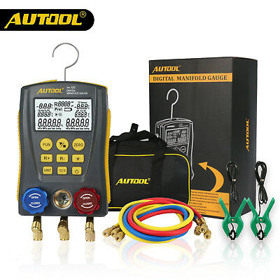 Autool Refrigerantion Digital Manifold Meter HVAC Gauge Pressure Temperature Kit