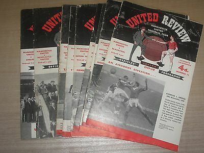 Manchester United 9 Home Programmes 1959-60