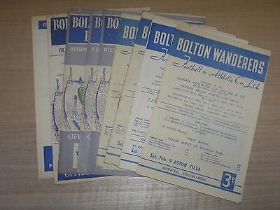 Bolton Wanderers 8 Home & 1 Away Programmes 1950's