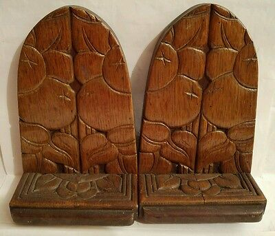 VINTAGE ART NOUVEAU STYLE WOODEN BOOK ENDS @ c 1910s/1920s POSSIBLY PRE-WAR WWI
