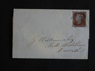 QV plated imperf, London 13 cancel, 1847 wrapper, Norwich cds (888)