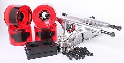 70mm 78a Clear Red Longboard Wheels and Silver Reverse Kingpin Truck Combo Set