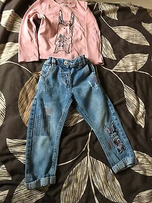 NEXT Girls Untold Stories Bunny Jeans And Top 2-3 Years