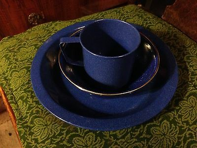 WESTERN BLUE ENAMEL CAMP COOK SET cowboy Chow Time