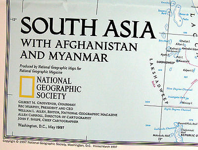 South Asia Afghanistan Myanmar India National Geographic Map / Poster May 1997
