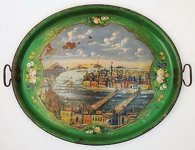 LARGE OTTOMAN TURKISH PAINTED GOLDEN HORN / ISTANBUL TRAY 19th Century