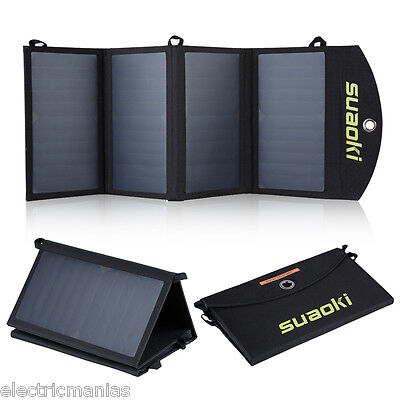 Portable 25W Solar Panel Charger Dual Port Foldable Mobile Battery Power Bank