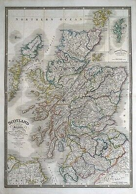 SCOTLAND, WITH ITS ISLANDS, JAMES WYLD, large original hand col antique map 1844