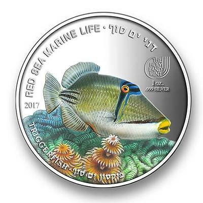 ISRAEL PALAU 2016 COLOR .999 SILVER  TRIGGERFISH 1oz COIN RED SEA FISH