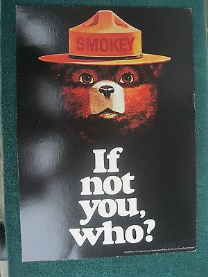 Nice Vintage Smokey Bear Poster US Dept Agriculture IF NOT YOU, WHO? 78-CFFP-1