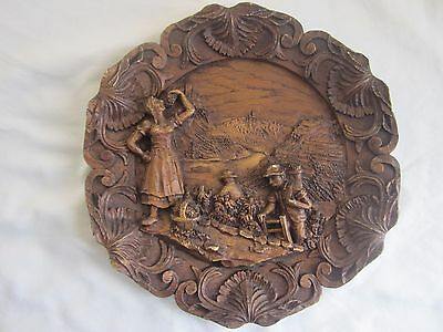 Vintage GERMAN/AUSTRIAN Grape Vine Wine harvest wood/resin plaque Signed ADM 465