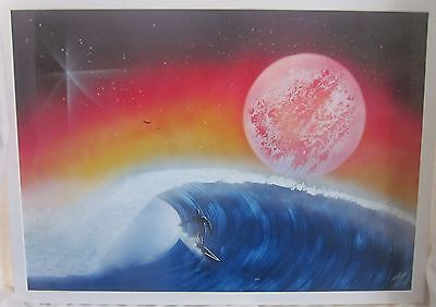 Large FRAMED Futuristic TROPICAL SURFING Signed Air-Spray Painting