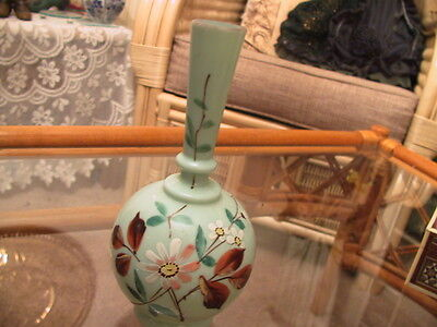 collectable Light green vaseline glass hand painted end of day vase