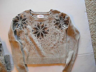 JUSTICE CHRISTMAS/WINTER SWEATER SILVER WITH SEQUIN size 12