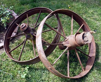 Antique Vintage 1900s Salvage 2 IRON WHEELS Farm Wagon Cart Steampunk Industrial