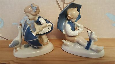 GDR German Blue and White Figurines Of Boy & Girl With Birds