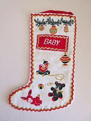 Vintage Reversible Cotton Flannel Baby Christmas Stocking