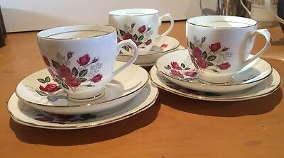 DUCHESS BONE CHINA ENGLAND Pink Roses X 3 TEA CUPS&SAUCERS & Side Plates