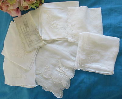 Lot Of 7 Vintage/antique Madeira Embroidered Hankies/scarf~Cotton/linen~Wedding