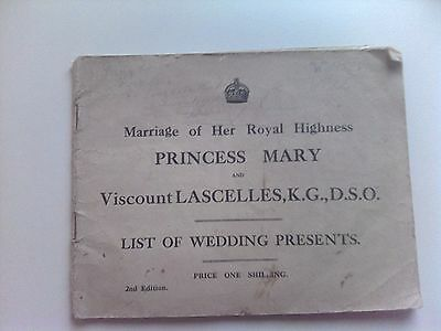 List Of Wedding Presents For Marriage Of Princess Mary To Viscount Lascelles
