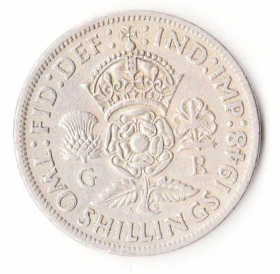 British 1948 Coin 2 Shillings King George VI 8001