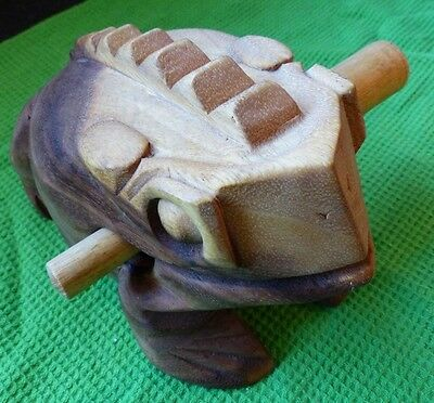 Large Wooden Croaking Frog Percussion Instrument Guiro Sound Effect. New