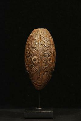 Old New Guinea Coconut Shell Lime Container.