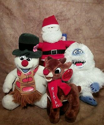 "Christmas plush toys lot Rudolph Bumble Santa 12"" Singing Frosty The Snowman"