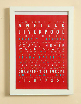 Liverpool FC Football Word Art Print Christmas Gift Framed Personalised