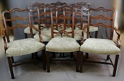 Set of Eight Vintage Mahogany Ribbon Back Chippendale Dining Chairs
