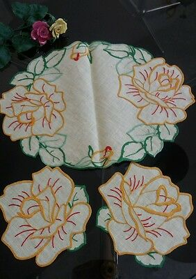 Vintage Hand Embroidered Linen Yellow Flowers Tray/Dressing Table Cloth and Mats