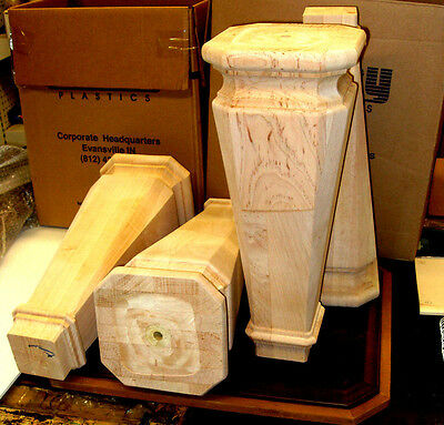 NEW Set of 4 Solid Square Tapered  Pool Table Legs, Unfinished maple