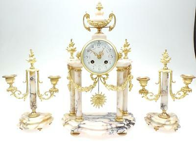 Superb Antique French White Marble & Ormolu 8 Day Striking Portico Mantel Clock