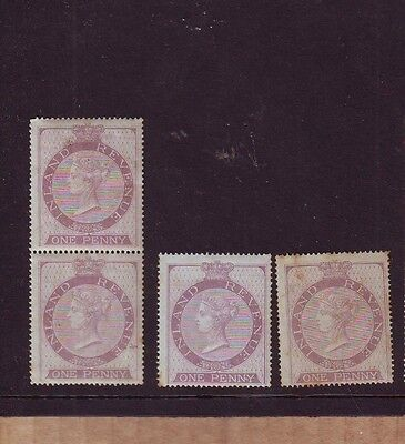 GB QV Inland Revenue One Penny Lilac MH PAIR + Singles