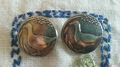 """2 Silver Metal Duck Goose Figural Buttons 13/16 """""""