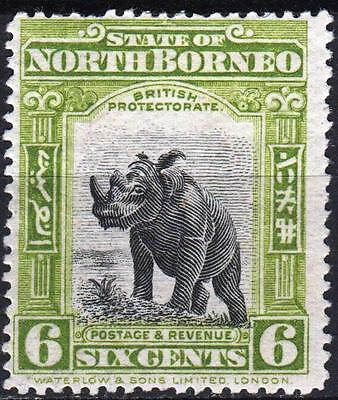 North Borneo 1909 issue, SG 167a, 6c Olive Green, Perf 15, Mint Hinged, Cat £80