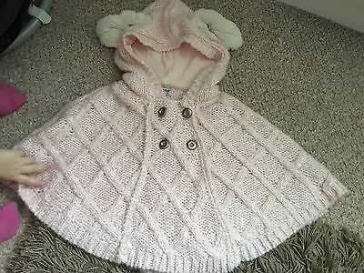 Girls Pink Knitted Poncho 1-2years Next