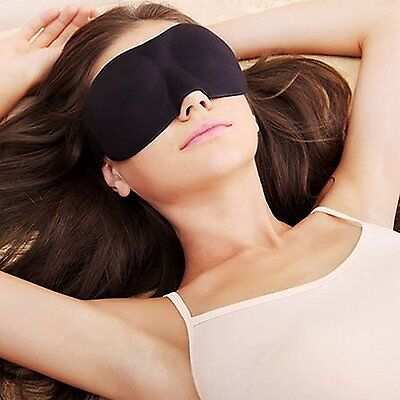 3D Soft Padded Blindfold Eye Mask Travel Rest Sleeping mask Cover Unisex - Black