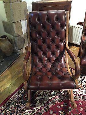 Chesterfield Leather Buttoned Rocking Chair Redish Brown-collect BD249PE Settle