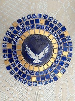 Blue And Gold Christmas Dove 2 Hand Made  Painted / Cut Decorative Mosaic Tiles