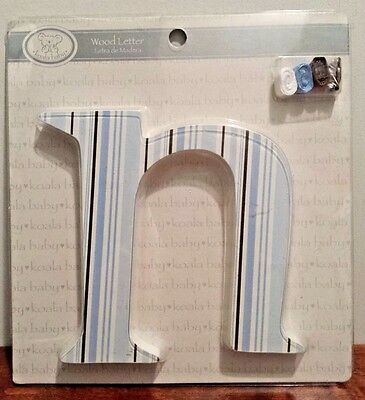 "Koala Baby Nursery Wall Decor Hanging Wooden Letter ""N"" Blue Stripes NEW"