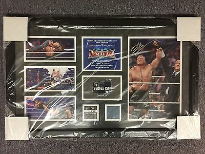 Wwe Brock Lesnar Wrestlemania 32 Hand Signed Plaque #13/41 Rare Sold Out Ambrose