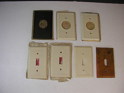 Lot of 7 Vintage Bakelite Ivory & Brown Single Switch Plates & Outlet Covers