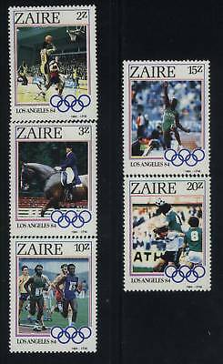Zaire Hinged SC # 1154-58 Olympic Games Los Angeles 84