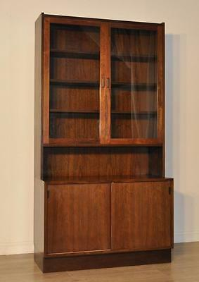 Attractive Large Rosewood Danish Mobelfabrik Bookcase Display Over Base Cupboard