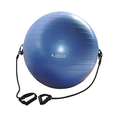 Gymnastikball Gymball mit Fitnessband Expander Blau 55cm groß inkl. Pumpe