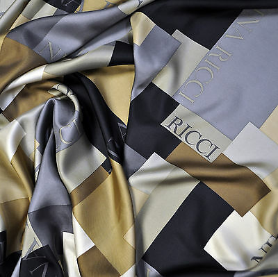 SALE! French designer authentic 100% pure silk twill fabric. Price for 1 meter.