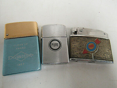 Vintage Pure Oil & Sunoco Gas & Oil Advertising Cigarette Lighters F420