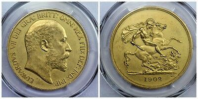 1902 Matte Proof 5 Pound Gold Sovereign Pr61 Pcgs