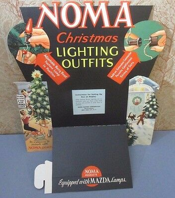 Vintage NOS 1930's Noma Christmas Lights Store Counter Display Advertising Sign